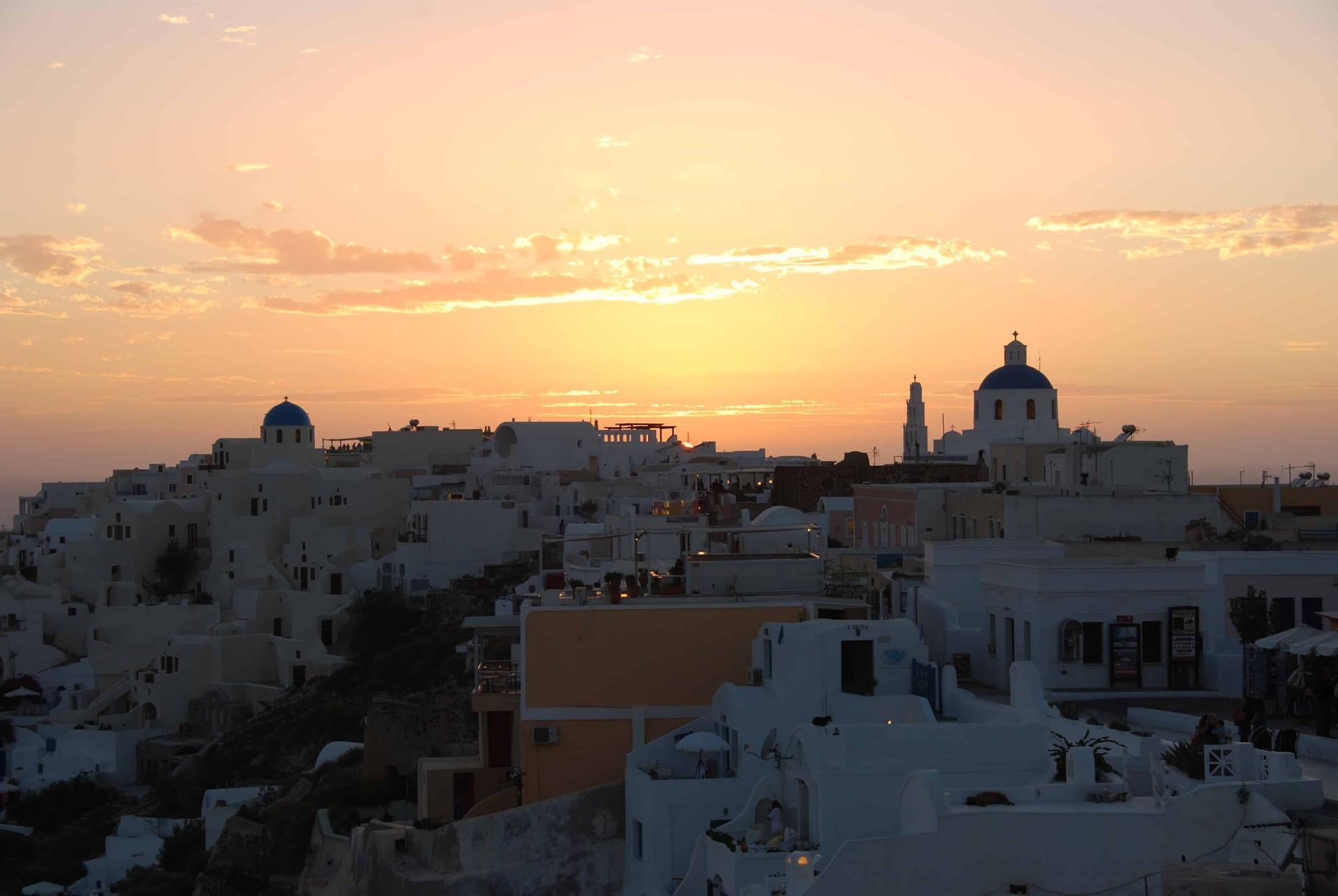 00 Sonnenuntergang Oia Ia Santorin Griechenland Kykladen