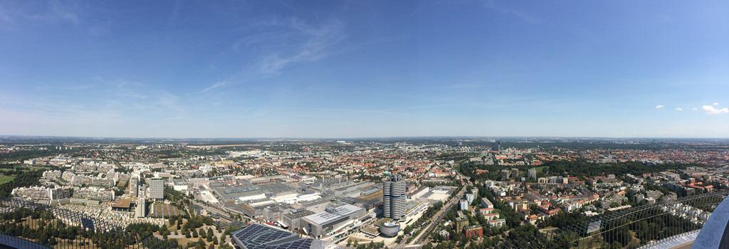Panorama vom Olympiaturm Olympiapark München Bayern