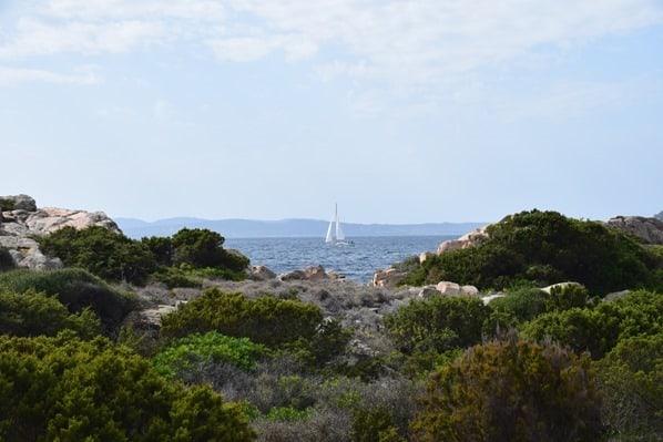 17_Meer-mit-Segelboot-und-Landschaft-La-Maddalena-Sardinien-Italien-Mittelmeer