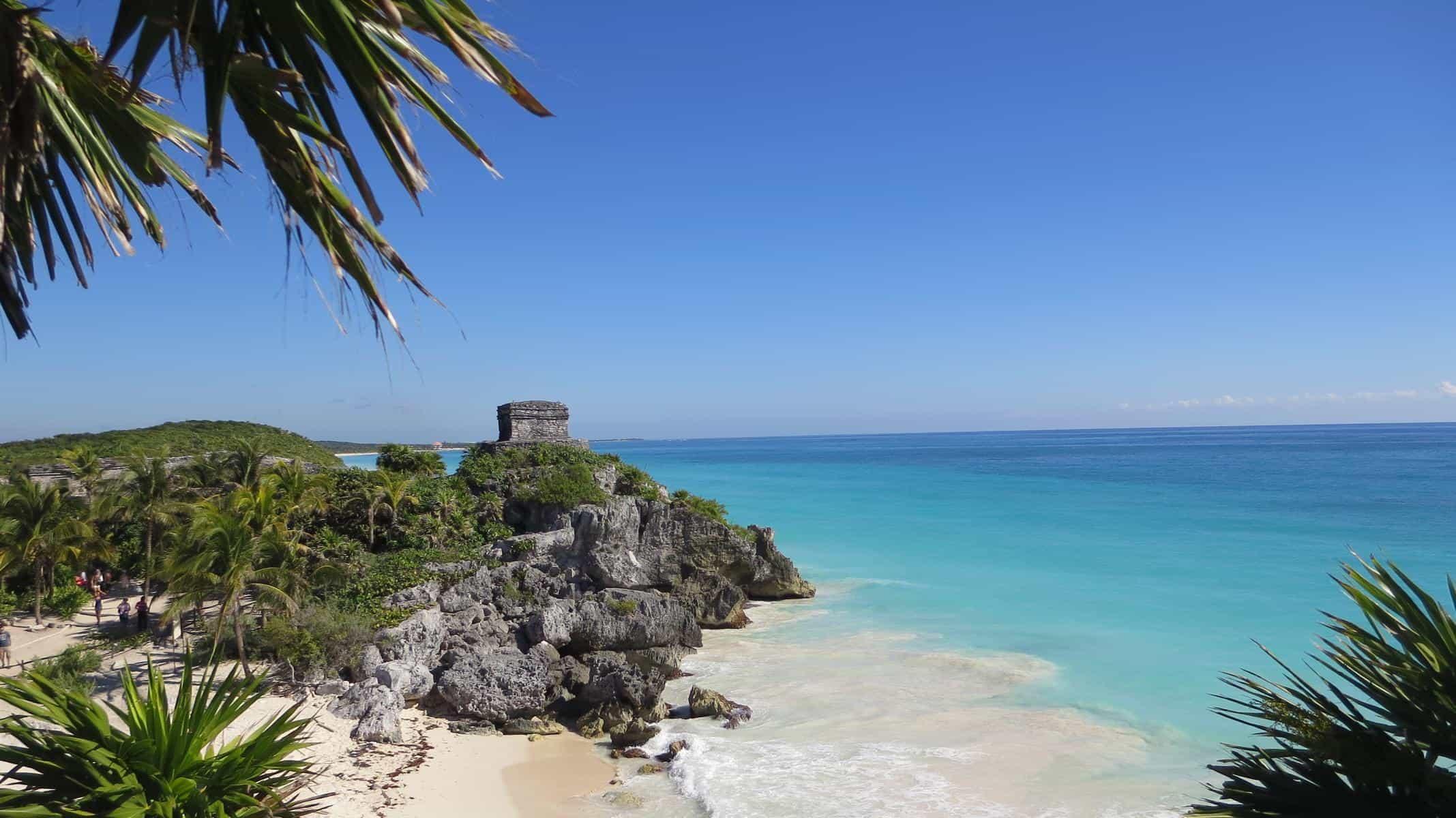 0 Tempel des Windes Maya Staette Tulum Cancun Yucatan Mexiko Karibik Meer