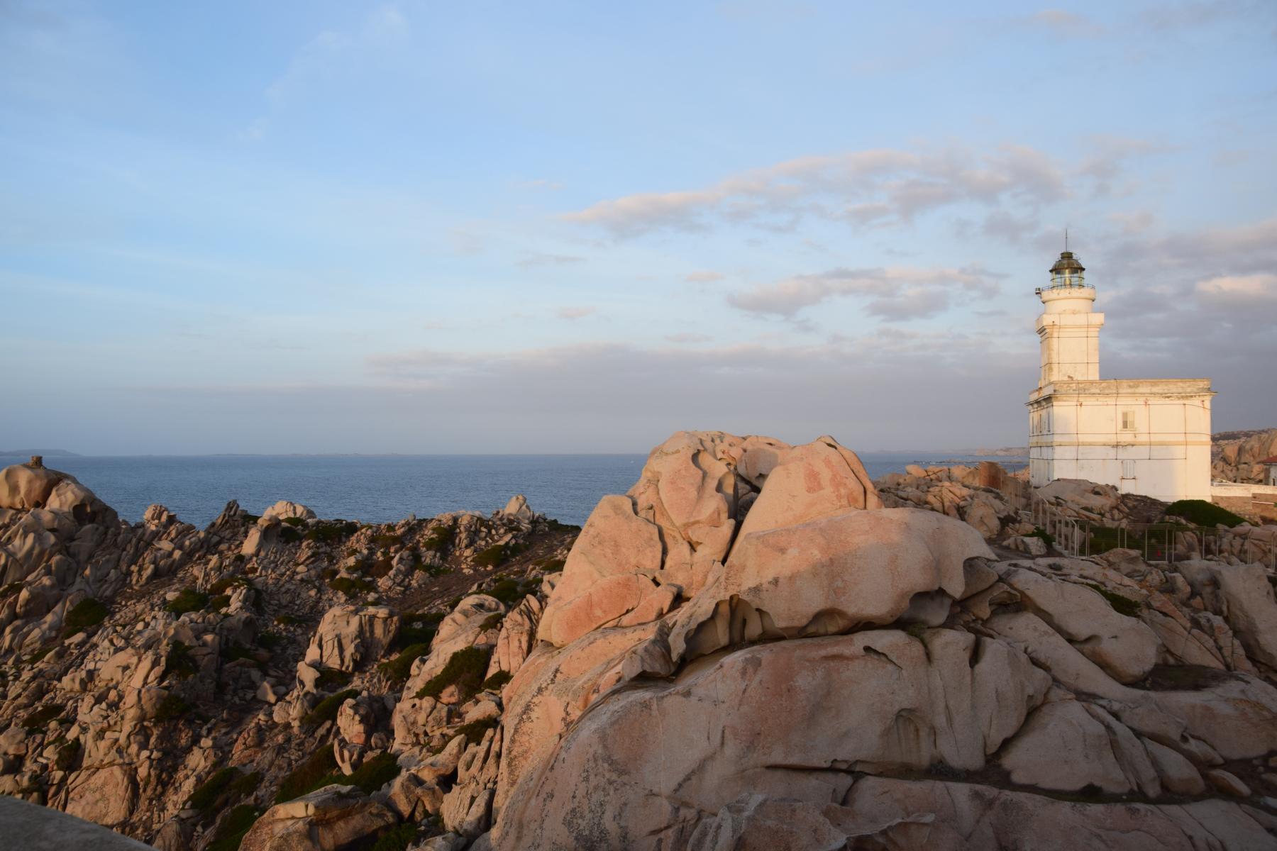 0 Leuchtturm Sonnenuntergang Capo Testa Sardinien Italien