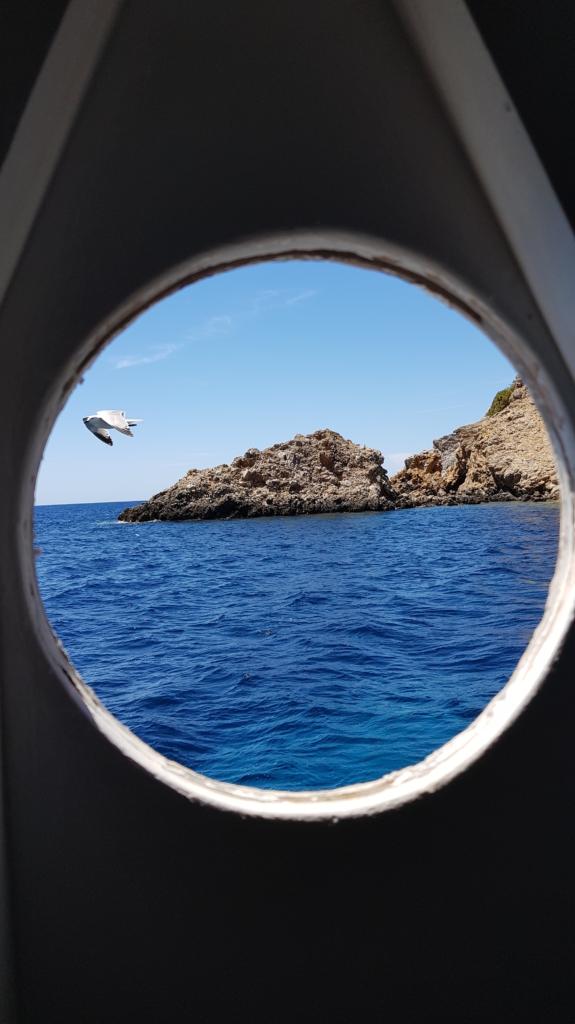 Sa Dragonera Dracheninsel Mallorca Ausflug mit Kindern Bullauge Ausflugsboot Atalaya II