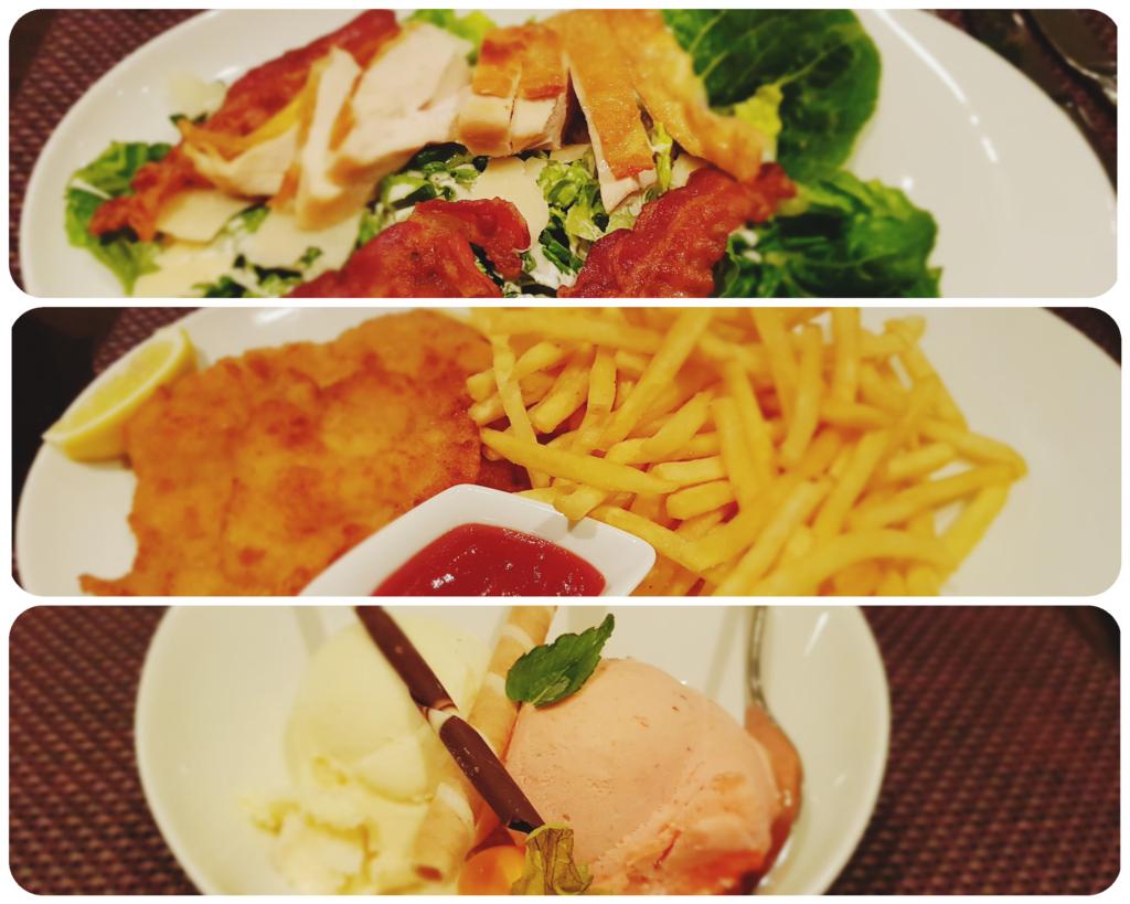 Bad Waldsee Salat Schnitzel Eis Abendessen Restaurant Scala Baden Württemberg Deutschland