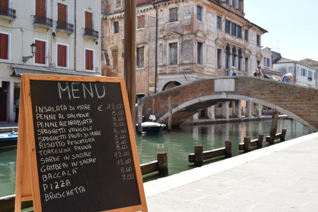 Chioggia Klein Venedig Menü Ristorante Trattoria Kanal Venetien Italien