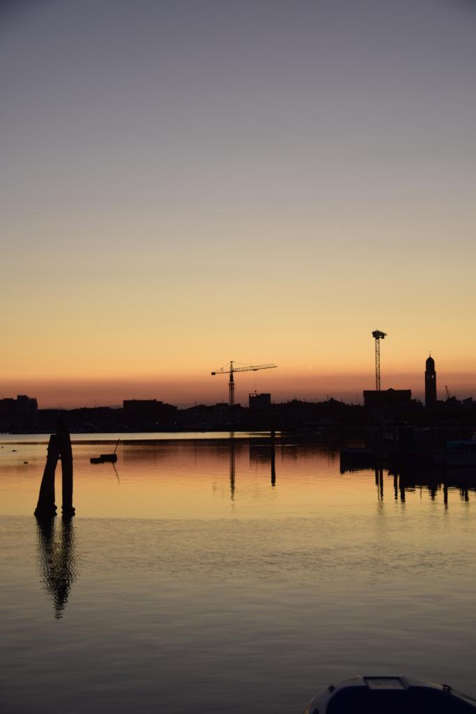 Chioggia Klein Venedig Skyline Sonnenuntergang Venetien Italien