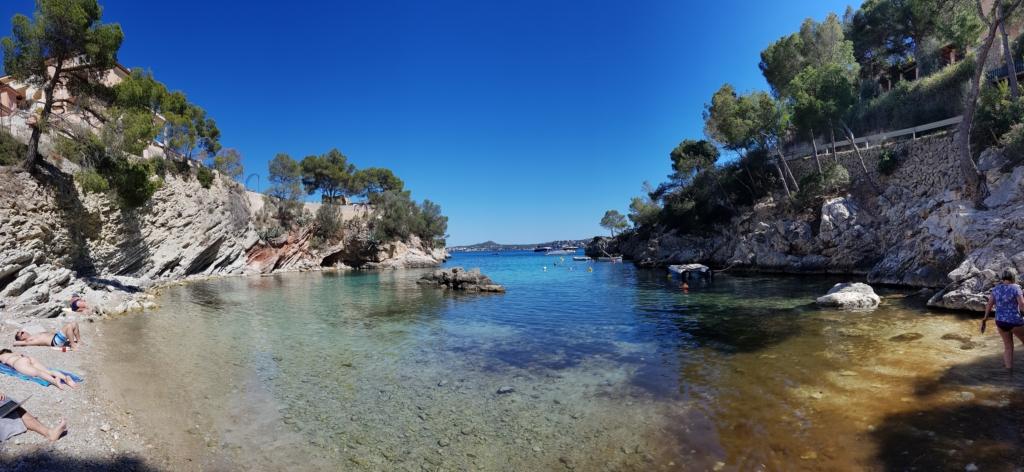 Panorama Strand Playa Calo de ses Llisses Cala Fornells Paguera Peguera Mallorca Balearen Spanien