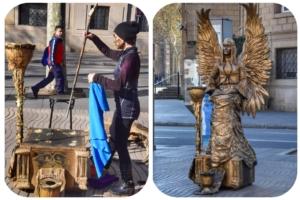 lebende statue engel sirahil aufbau la rambla barcelona spanien aida familien kreuzfahrt