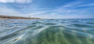 freier Strand Torre del Lago Viareggio Toskana Italien Sommer 2021 Corona